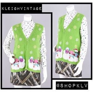Ugly Christmas Sweater Green Vest Women's Medium
